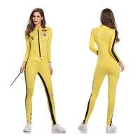 Sexy Kill Bill Beatrix Kiddo Cosplay Jumpsuit Motorcycle Lala Costume Women Pole Dance Hot Cloth Halloween Carnival Racing Girl