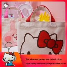 HELLO KITTY 2019 New Simple Fashion Canvas Shopping Bag Cute  Tote Bag Handbags Women Large Capacity Handbag Big Shopping Bag 2019 new hello kitty fashion portable ladies handbag cute cartoon large capacity shoulder canvas bag clutch bag hk 213