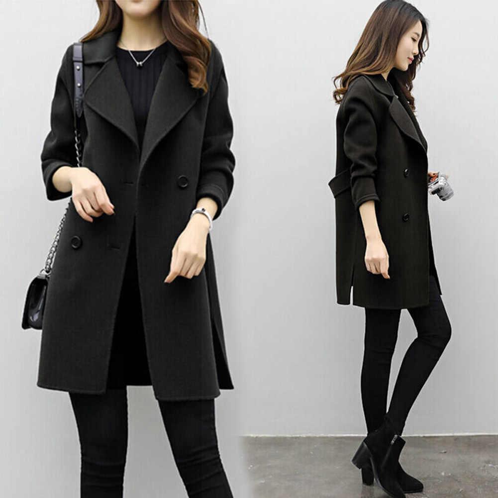 2019 nova jaqueta feminina casaco de inverno escritório manga longa botão de lã casaco feminino casaco de senhora de cor sólida botão-para baixo jaqueta