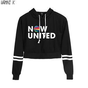 New Korean Fashion Kpop Clothes Now United Hip Hop Crop Top Hooded Hoody Female Harajuku Cropped Hoodie Sweatshirts Pullovers