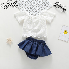 ZAFILLE 2020 New Girls Clothing 2Pcs Lace Top+Skirt Baby Set Newborn Solid Short Sleeve Infant Outfits Set Cotton Kids Clothes girls geometric print top with solid skirt