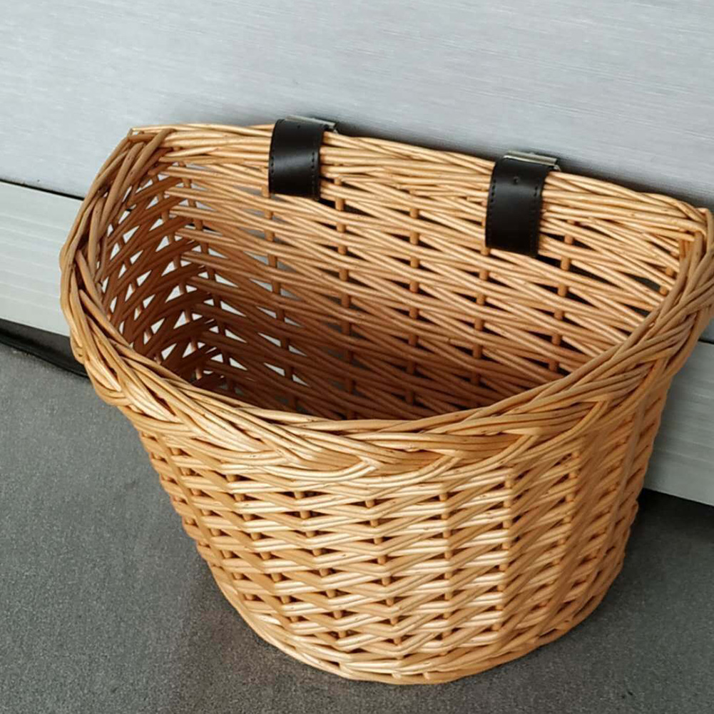 Children Outdoor Bicycle Basket Environmentally Friendly Handwoven Willow Storage Baskets Organizador