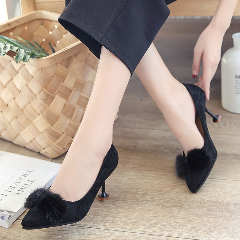 High Heel Shoes Spring New Style Pointed-Toe Furry Cat Ornament With WOMEN'S Shoes Versatile Thin Heeled Fashion Work Shoes Kore
