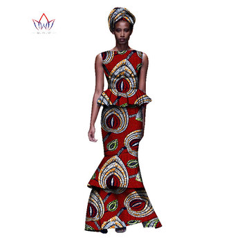 2020 New African Dresses For Women Dashiki Ladies Clothes Ankara O-Neck Africa Clothes Two Pieces Set Natural 6xl None WY1054 - 8, 6XL