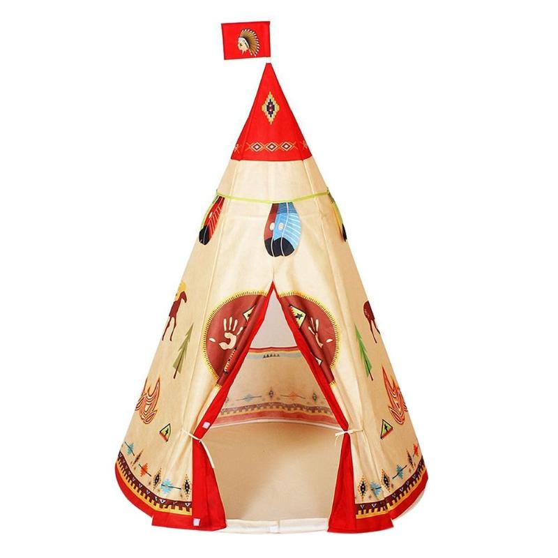 Natural Indian Pattern Unisex Children Toy Tent Cloth Indoor Game Playhouse Kids Tent Toys Gift