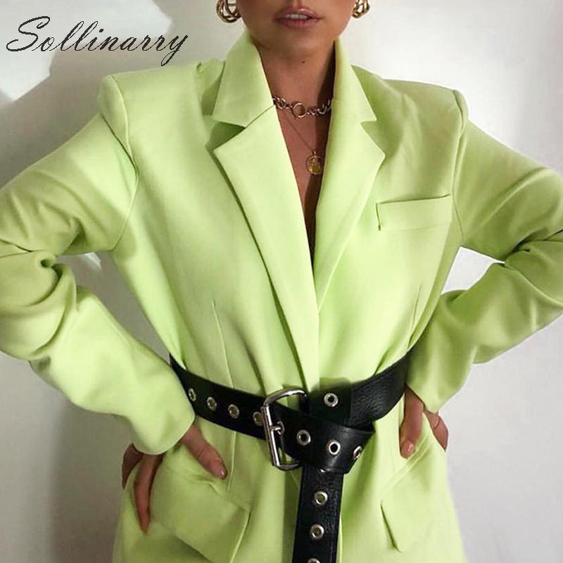 Sollinarry Fashion Green Autumn Blazer Coats Women 2019 Long Sleeve Streetwear Winter Jackets Blazers Female Chic Outwear Solid
