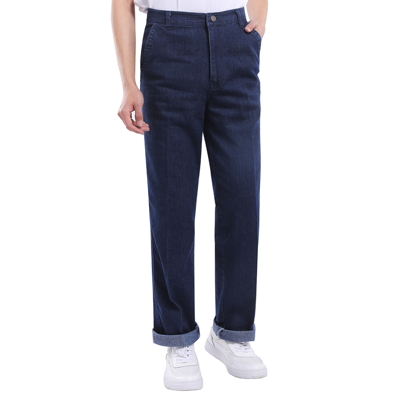 YOUTHUP New Men's Stretch Jeans High Waist Straight Tube Loose Deep Crotch Jean Male Casual Style Long Trouser Three Colors