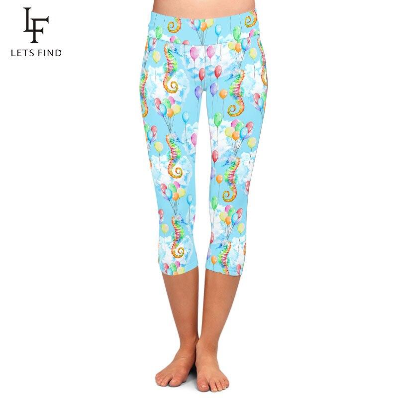 LETSFIND Fashion Colorful Seahorse and Balloons Print Women Capri Leggings High Waist Soft Slim Elastic Leggings Plus Size