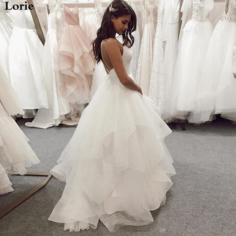 Lorie Wedding Dress Boho A Line Vestido De Novia Sleeveless Spaghetti Straps Bride Dresses Custom Made Wedding Gown Plus Size
