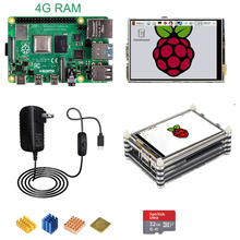 Power-Adapter Acrylic-Case Lcd-Display RPI 4-Model 4G B with 4B 5V 3A 32G Sd-Card Cooper-Heat-Sink