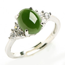 925 silver inlay and Hetian jade ring natural spinach Green jasper Women jade Ring retractable ring belt certificate(China)