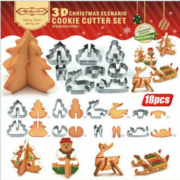 18PCS 3D Christmas Cookie Cutter Set Stainless Steel Xmas Biscuit Mold  Gingerbread House DIY Baking Pastry Tool Kitchen Toys