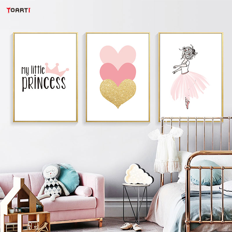 Pink Girls Princess Crown Heart Poster Prints Modern Home Decor