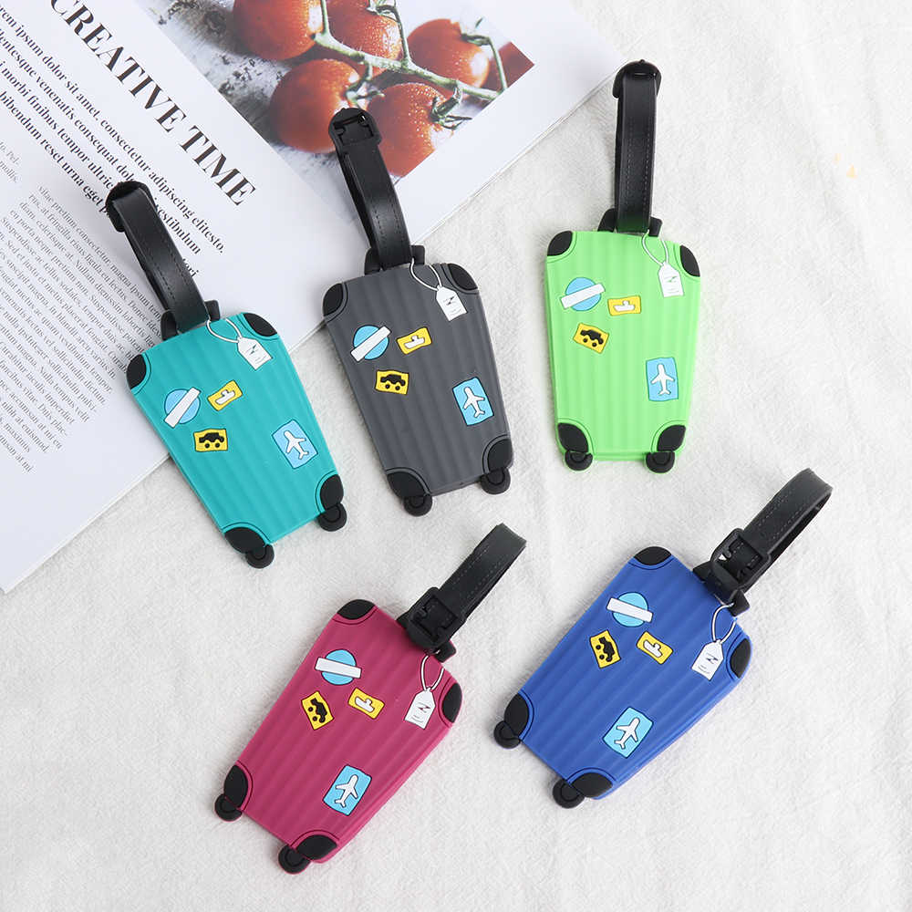1PC Reizen Accessoires Bagage Tags Koffer Label Handtas Hanger Creatieve Instapkaart Cartoon Bagage Tags Adres Holder