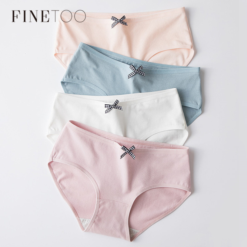 Women Solid Panties Cute Bow Cotton Panty Sexy Girls Underwear Low Rise Light Color Briefs For Women Female Underpants L-XL New