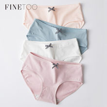 Women Solid Panties Cute Bow Cotton Panty Sexy Girls Underwear Low Rise Light Color Briefs For Women Female Underpants L-XL New(China)