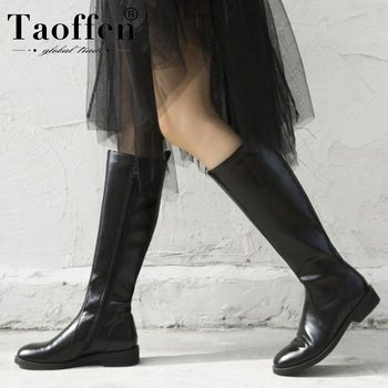 Taoffen Woman Genuine Leather Knee High Boots Retro Black Zipper Hot Sale Motorcycle Boots Sexy Work Footwear Size 33-40
