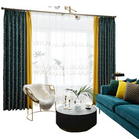 현대 창 커튼 침실 발코니 커튼 블랙 아웃 커튼 거실 용 투톤 모자이크