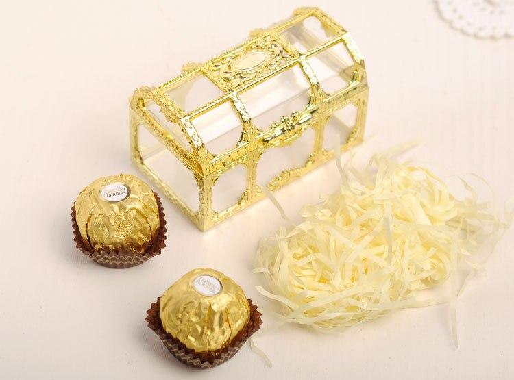 20 pièces Top Grade grande taille boîte au trésor or Transparent en plastique boîtes à cadeaux de mariage bébé douche boîte à bonbons boîte à bijoux