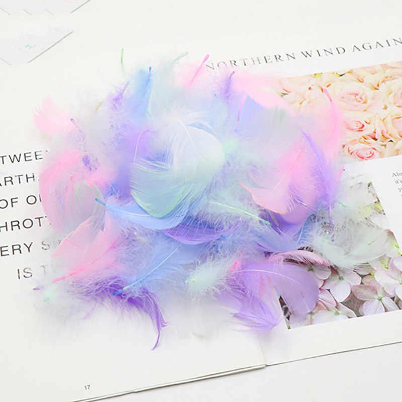 Zachte 100PC Kleurrijke Veren Gift Verpakking Materiaal Doos Filler Levert Diy Craft Wedding Verjaardagsfeestje Decoratie Accessoires