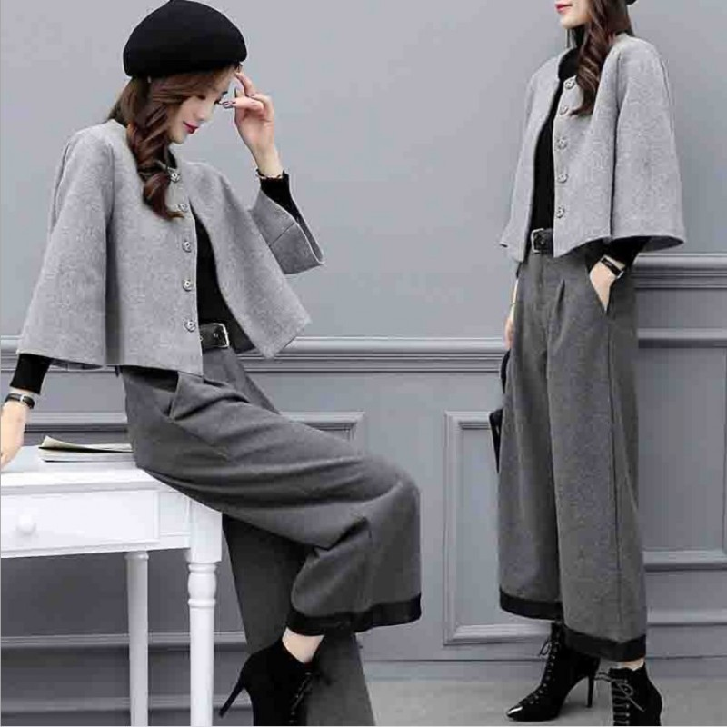 Office Ladies Autumn Winter Woolen 2Pcs Outfits Fashion Single Breasted O-Neck Short Coats Loose Ankle Length Wide Leg Pants