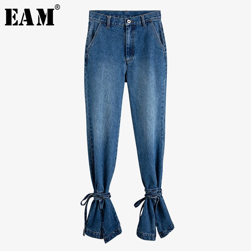 [EAM] Blue Hem Bandage Ruffles Long Flare Jeans New High Waist Loose Women Trousers Fashion Tide Spring Autumn 2020 1U796