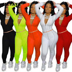 CM.YAYA Sport Zipper Sweatsuit Women's Set Track Jacket Legging Pants Set Active Matching Tracksuit Two Piece Fitness Outfit Set