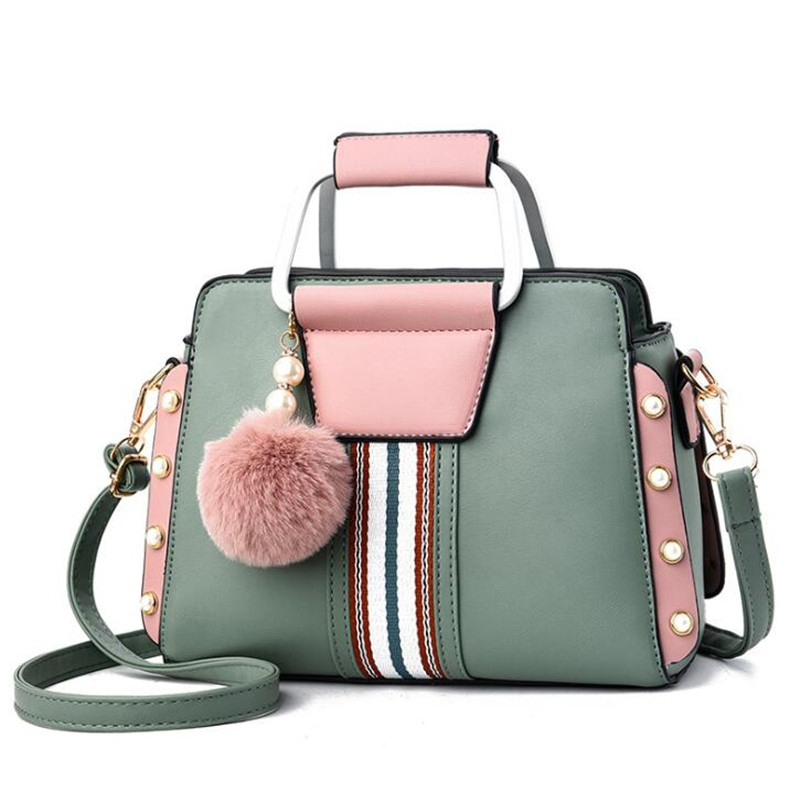 Luxury Candy Color Patchwork Women Bags Crossbody Shoulder Bags For Female Hairy Ball Decoration Women Top-handle Handbags Totes