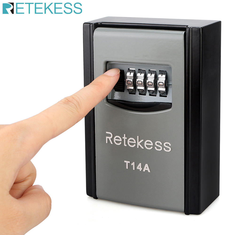 Retekess T14A Wall Mounted Key Storage Organizer Boxes With 4 Digit Combination Lock Spare Keys Organizer Metal Secret Safe Box