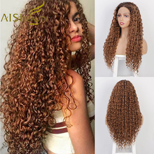 AISI BEAUTY Synthetic Long Lace Front Wigs Curly Brown Black Hair for Women Natu