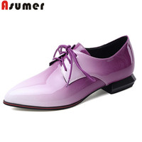 ASUMER 2020 new arrival single shoes women pumps lace up pointed toe spring summer comfortable casual shoes ladies big size 50