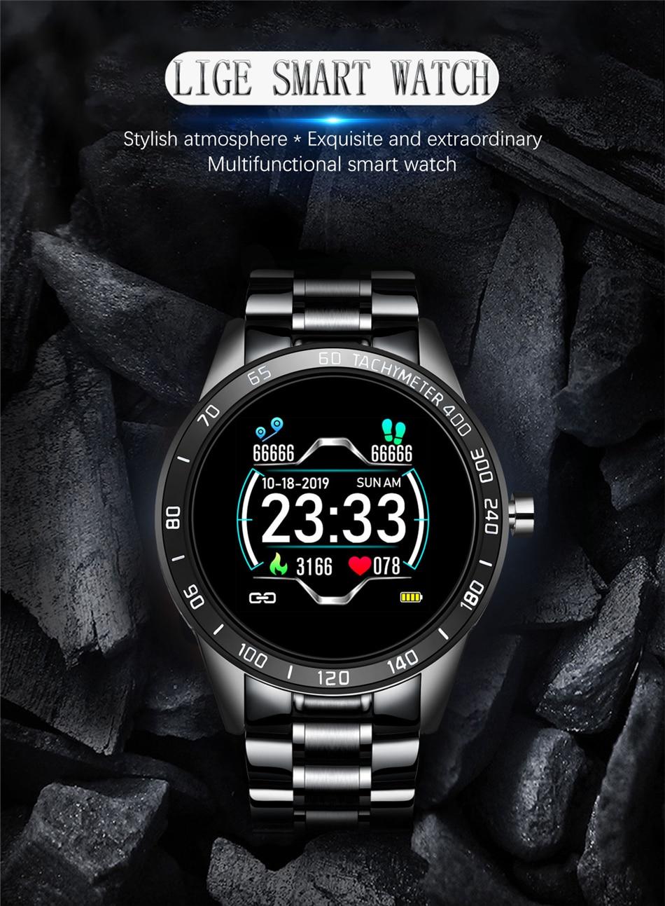 H05acbaf39b754ef186df67ae809b02a5K LIGE Steel Band Smart Watch Men Heart Rate Blood Pressure Monitor Sport Multifunction Mode Fitness Tracker Waterproof Smartwatch
