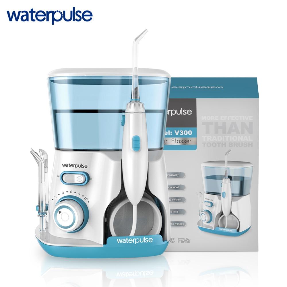 Waterpulse V300G Oral Irrigator 5pcs Tips Dental Water Flosser Electric Cleaner 800ml Oral Hygiene Dental Flosser Water Flossing(China)
