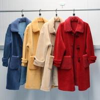 New Fashion Women Winter Outwear Faux Fur Coat Lamb shearling Wool Blend Coat Horn Button Warm Casual Mid Long Coat