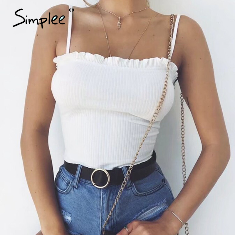 Simplee Sexy Knitted Women Tank Tops Spaghetti Strap Solid Females Camis Tops Summer Ruffled High Waist Party Club Ladies Tops