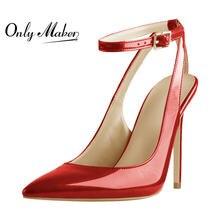 Женские туфли с ремешком на пятке onlymaker красные лодочки