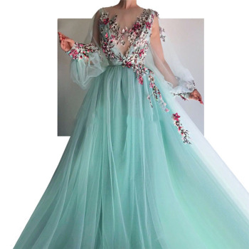 Eightale Green Evening Dresses O-Neck Appliques 3D Flowers Tulle A-Line Puffy Long Sleeves Prom Dress for Graduation Party Gowns vensanac 2018 o neck metal leaf sash long a line evening dresses vintage tank lace crystals party tulle prom gowns