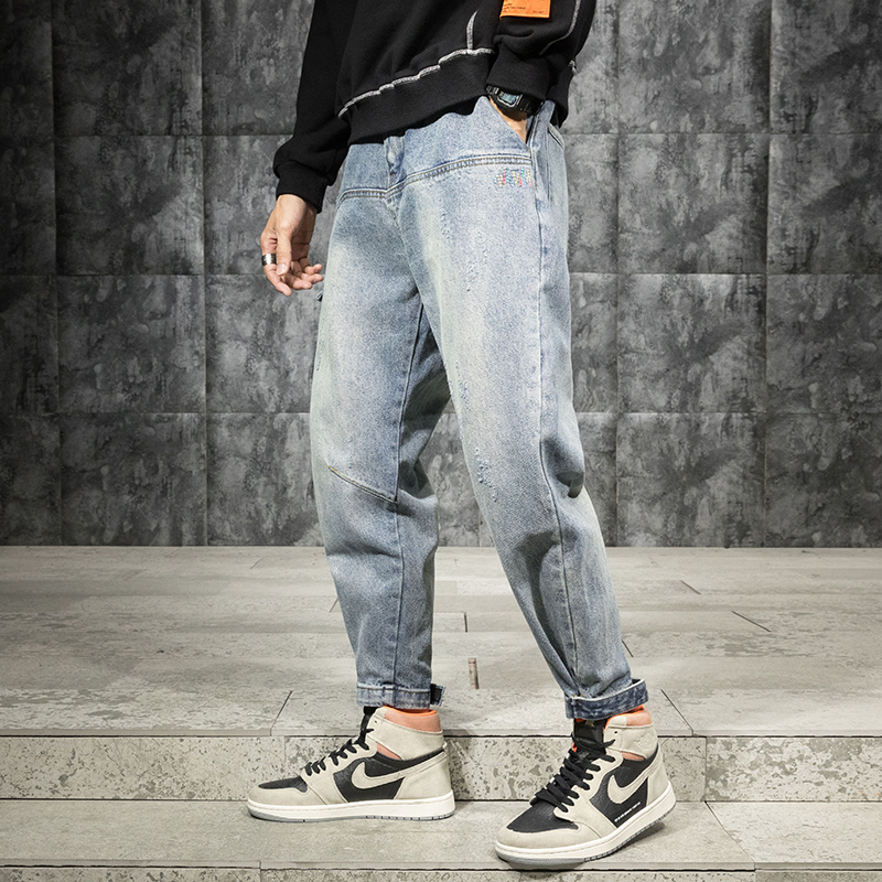Fashion Streetwear Men Jeans Loose Fit Spliced Designer Cargo Pants Embroidery Designer Harem Jeans Light Blue Hip Hop Jeans Men