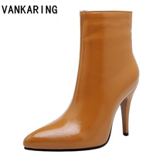 shoes women PU leather boots winter pointed toe high heel boot zipper fashion motorcycle boots brown black shoes pumps plus size nesimoo size 34 43 fashion zipper 2017 round toe pu leather women shoes square high heel ankle boot women motorcycle boot