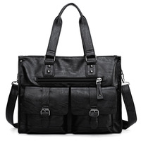 High Quality Pu Leather Men's Business Handbag Men's Large Capacity Travel Bag British Style Male Briefcase New 2019 Autumn