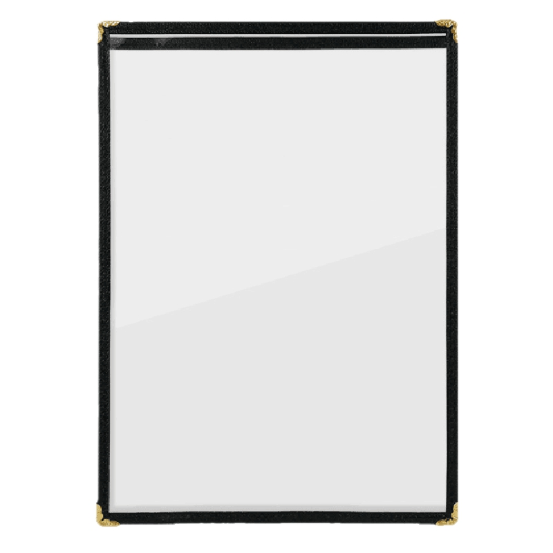(Pack of 10) Single Page Menu Cover, Insert 8.5 x 11 Inches, with Faux Leather Trim and Decorative Corners
