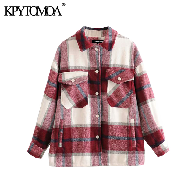 Vintage Stylish Plaid Jacket Coat Lapel Collar Long Sleeve Loose Outerwear Chic Tops 3