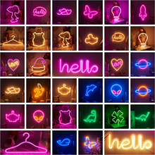 LED Neon Night Light Wholesale Sign Wall Art Sign Night Lamp Xmas Birthday Gift Wedding Party Wall Hanging Neon Lamp Home Decor