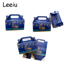 Leeiu 5 pçs azul eid mubarak caixa de doces lua estrela muçulmano ramadan kareem decorações caixas de papel eid al-fitr fontes de festa 2021
