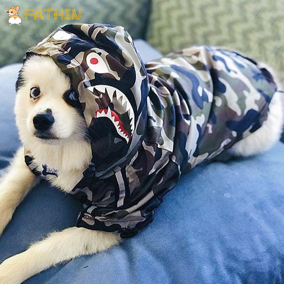 FATHIN Dog Clothes Adidog Camouflage French Bulldog Pupreme Shirt Dog Camo Windbreaker Sport Retro Dog Hoodies Pet Clothes 4