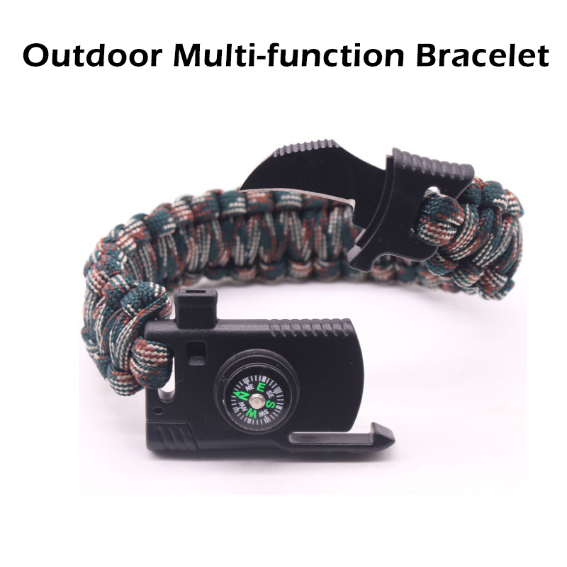 Outdoor Camping Rescue Paracord Bracelet For Men Survival Parachute Cord Multifunctional Braided Rope Adjustable Knife Whistle