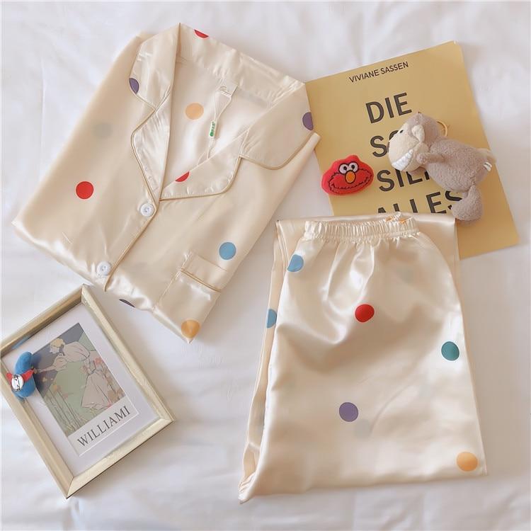 Women Pajamas Plus-sized 5XL Cardigan Fold-down Collar Long Sleeve Imitated Silk Fabric Korean-style New Style Printed Homewear