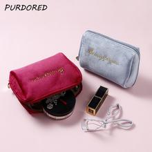 Purdored 1 шт Женская бархатная сумка для макияжа на молнии