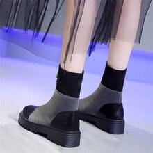 Ботильоны женские на молнии удобные замшевые ботинки массивной