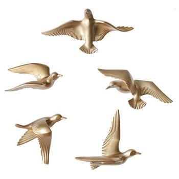 5PCS Europe Wall Hanging Resin Bird Crafts Decoration 3D Stereo Wall Sticker Home Livingroom Background Wall Mural Ornaments Art